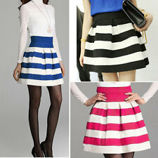 New Girls Short Skirts Women Scalloped Stripes Casual Ball Gown High Waist Skirt