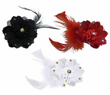 BLACK RED WHITE SPARKLY DIAMANTE SALSA JEWEL FEATHER FLOWER HAIR ELASTIC BROOCH