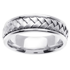 14K White Gold Hand Braided Wedding Ring Band 7mm (WJRL01454)