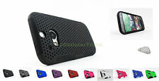 for HTC One M8 2014 Rubberized Mesh Hard/Soft Skin Phone Case Cover+PryTool