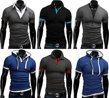 Herren Kurzarm Polo T-Shirt Kurzarmshirt Slim Fit Figurbetont Sweats MERISH Mix