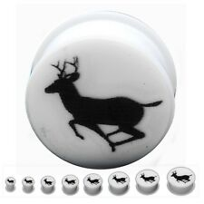 Double Flare Silicone Plugs With Jumping Deer Print. Sold as pair !
