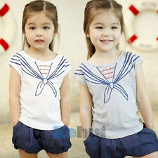 Baby Kids Girls Tops T Shirts Tie Print Navy Style Short Sleeve Clothes 1-5Y