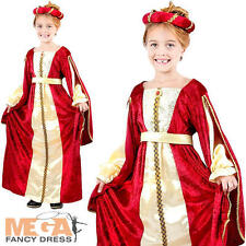 Tudor Regal Princess Girls Fancy Dress Medieval Kids Childrens Child Costume