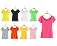 woo Womens Summer Sexy Candy Color Cotton Casual Short Sleeve U neck T-shirts