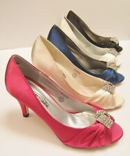 Ladies Satin Diamonte Peeptoe Evening Shoes ~5 Colors Available, Spot On F10059