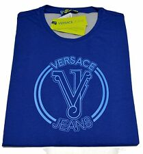 T-shirt Gianni Versace Jeans Men Italy Fashion T-shirt Mens Jersey Cotton Blue