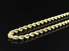 Mens or Ladies 10K Yellow Gold 3 MM Hollow Rope Chain Necklace 16-28 Inches
