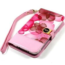 """4"""" Universal Pink Brown Flower White Slide Up Wallet Wristlet Pouch Cover Case"""