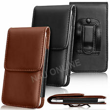 PU Leather Pouch Belt Holster Skin Case Cover For HTC Mobile Phones