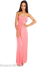 Long Coral Maxi Strapless Summer Sun Dress 8-14 Holiday-Beach-Day-Evening-Casual