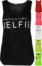 Women Darling Time To Make A Selfie Text Print Sleeveless Vest Top Size 4-10