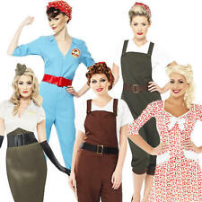 1940s Army Girls Fancy Dress WW2 40s Wartime Uniform Womens Costume Outfits New
