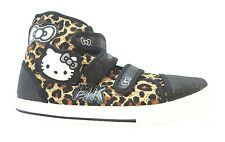 Hello Kitty Norland Hi Top Girl's Black With Leopard Print Velcro Trainers New