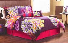 GIRLS TEEN FLOWERS PINK PURPLE TWIN FULL QUEEN COMFORTER BEDDING SET