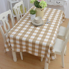 Vintage Brown&White Plaids Fabric Check Table Cloth Cover Tablecloth Home Decor
