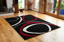 Patterned Floor Rug Cheap Rich Red Grey Black Quality Mat Stain Resistant Circle