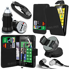 8 in 1 Bundle Kit Accessory Leather Case Car Holder Charger For Nokia Lumia 520