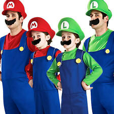 Super Mario/Luigi Bros Mens Boys Fancy Dress Plumber Game Adult Kids Costume NEW