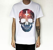 MENS  LADIES SKULL T-SHIRT INVERTED CROSS HIPSTER T SHIRT GALAXY UNISEX TEE