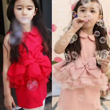 Princess Kids Girls Skirts Lace Bow Ruffled Lapel Party Dress Cotton Clothes 2-7