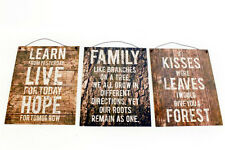 Vintage Woodland Rustic Metal Sign Plaque Slogan Kitchen Family Learn Kisses