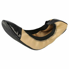 LADIES SPOT ON BEIGE FOLDABLE BALLET FLATS - F8896