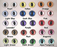 2 PAIR 18mm to 30mm Safety Eyes SLIT PUPIL IRIDESCENT Choose Color  ISPE-1