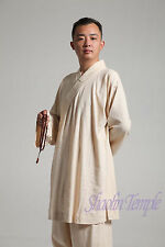 High quality clothes taichi kungfu arhat gown shaolin buddhist monks cream color