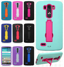 For LG G3 IMPACT Hard Rubber Case Phone Cover Kickstand + Screen Protector