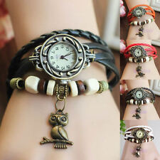 Women New Design Retro Leather Bracelet Owl Decoration Quartz Wrist Watch