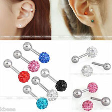 16G CZ Gem Stainless Steel Barbell Ear Tragus Cartilage Helix Studs Earring Gift