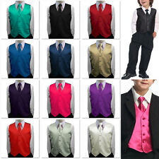 Toddler Kids Boys Children Satin Vest Waistcoat Tuxedo with Option Tie Necktie