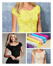 Hot Fashion Women Floral Lace Sexy Top Short Sleeve Blouse Crew Neck T-shirt Tee