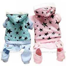 Glossy Taffeta Pup Pet Clothes Stars Warm Fleece Cat DOG Clothes Hoody Jumpsuit