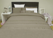 EMBROIDERED Quilt Doona Cover Set - MOCHA - SINGLE DOUBLE QUEEN KING