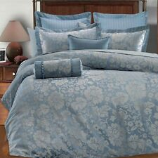 9pc Light Blue/Silver Gray Floral Design Comforter Set Full Queen King Cal King