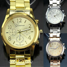 Hot Sell Geneva Unisex Stainless Steel Quartz Wrist Watch Ladies Women Girl