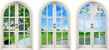 Huge 3D Arched Window Enchanted Garden View Wall Stickers Mural Art Decal