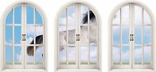 Huge 3D Arched Window Horse Jumping View Wall Stickers Film Mural Art Decal