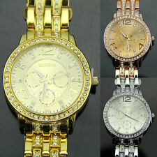 New Lady Women Fashion Luxury Gold Crystal Quartz Rhinestone Crystal Wrist Watch