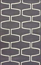Solid & Striped Modern Contemporary Transitional Flatweave Area Rug Carpet Wool