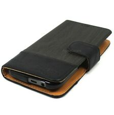 Universal Dark Chocolate Brown Wood Grain Design Slide Up Wallet Case For LG