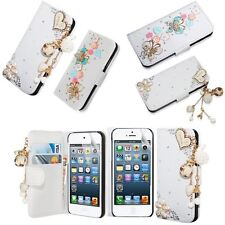 Diamond Bling PU Leather Wallet Flip Phone Case Cover For iPhone/Samsung + Film