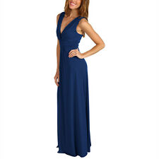 Chic Sleeveless Long Jersey Maxi Cocktail Party Evening Dress Cobalt Blue