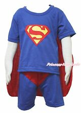 Xmas Halloween Gift Superman Hero S/S Outfit Boys Kid Party Costume Present 2-7Y