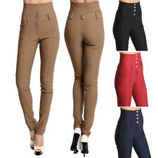 TheMogan Buttoned High Waisted Stretch Skinny Trouser Pants