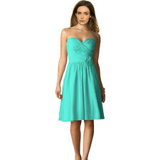 Strapless Short Chiffon Bridesmaid Formal Cocktail Evening Party Dress Aqua Blue