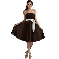Sexy A-Line Strapless Chiffon Formal Bridesmaid Cocktail Party Dress Chocolate