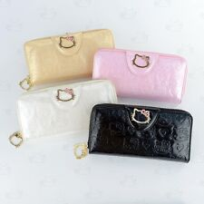 Hello Kitty Patent Leather-Like Clutch Wallet with Zip Around Coins Bag #048S